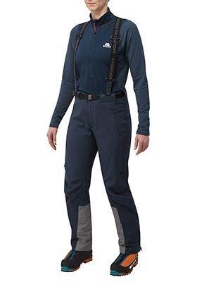 Modré softshellové dámské turistické kalhoty Mountain Equipment