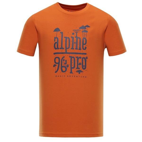 Oranžové pánské turistické tričko s krátkým rukávem Alpine Pro - velikost S