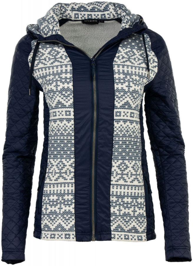 Bílo-modrá zimní dámská bunda s kapucí Alpine Pro