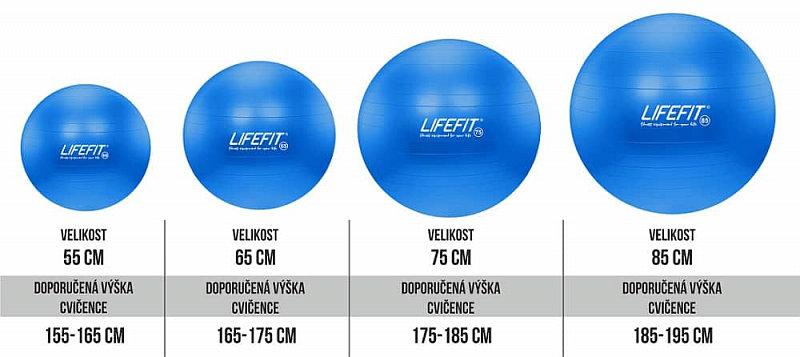 Modrý gymnastický míč ANTI-BURST, Lifefit - průměr 85 cm