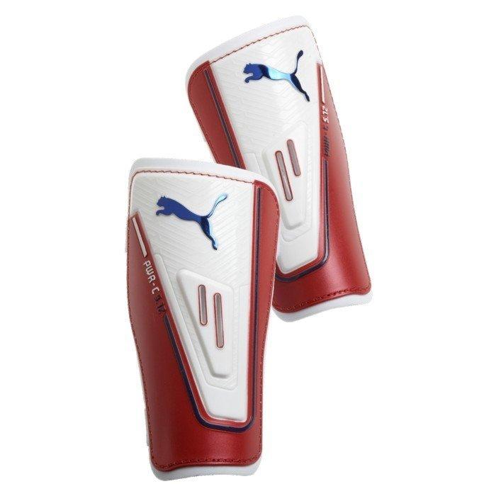 Bílo-červené fotbalové chrániče holení Powercat 5-12, Puma - velikost M