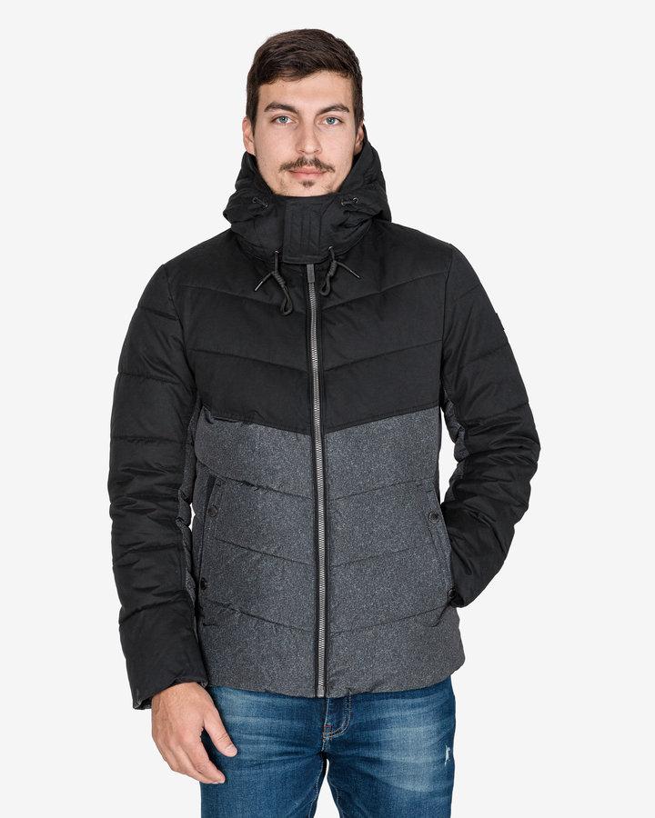 Černo-šedá zimní prošívaná pánská bunda Tom Tailor