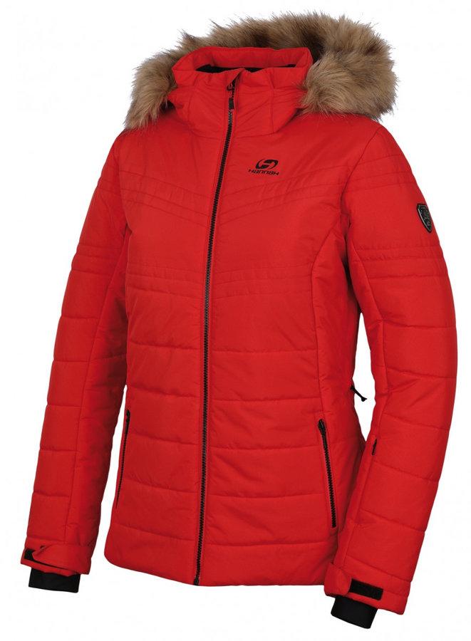 Červená zimní dámská bunda s kapucí Hannah - velikost S