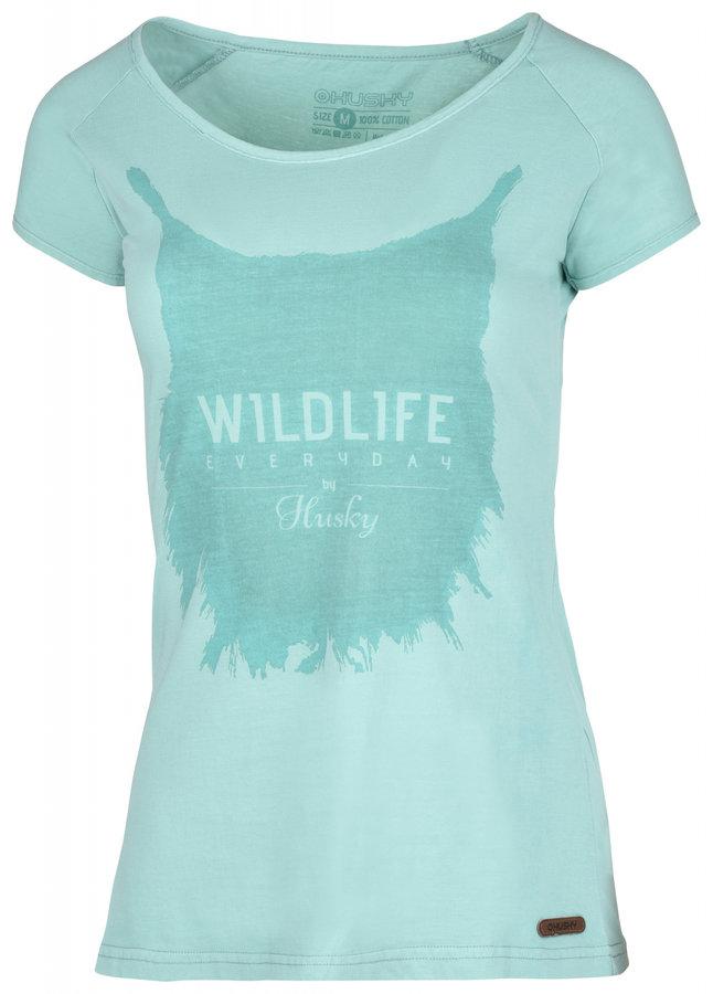 Tyrkysové dámské tričko s krátkým rukávem Husky - velikost XL