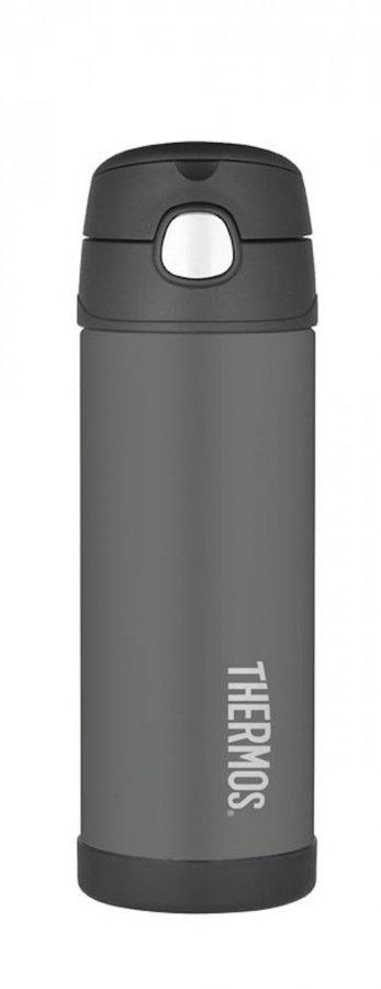 Černá termoska na pití Funtainer, Thermos - objem 0,47 l