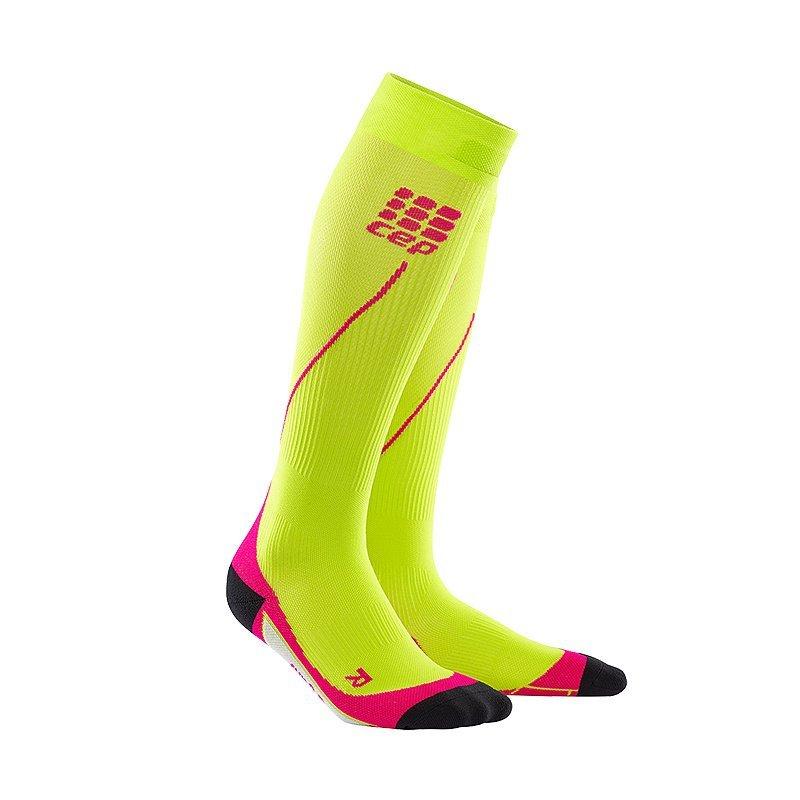 Žluté vysoké dámské běžecké ponožky CEP - univerzální velikost