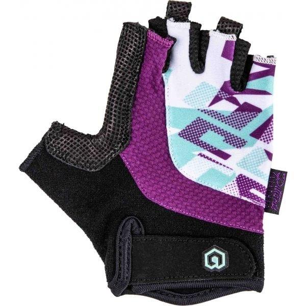 Černo-fialové dětské cyklistické rukavice Arcore