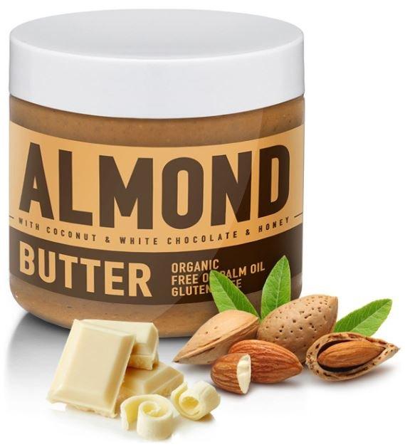 Máslo - Sizeandsymmetry Mandlové máslo s bílou čokoládou, kokosem a medem 500g