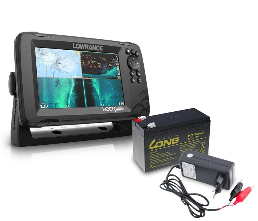 Echolot - Lowrance Echolot Hook Reveal 7 se Sondou Tripleshot + baterie + nabíječka ZDARMA
