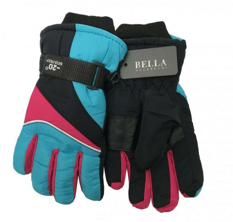 Modro-růžové dětské lyžařské rukavice