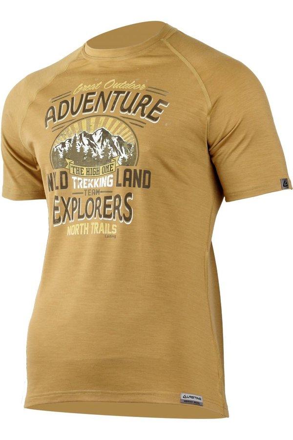 Béžové pánské tričko s krátkým rukávem Lasting - velikost S