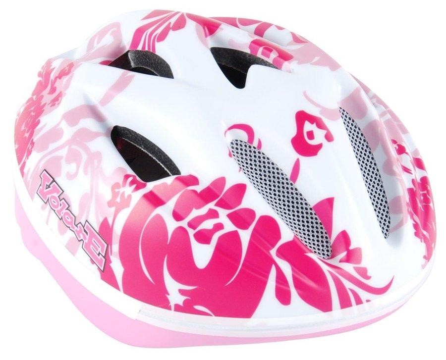 Cyklistická helma - VOLARE - Dětská přilba Deluxe, bílá / růžová