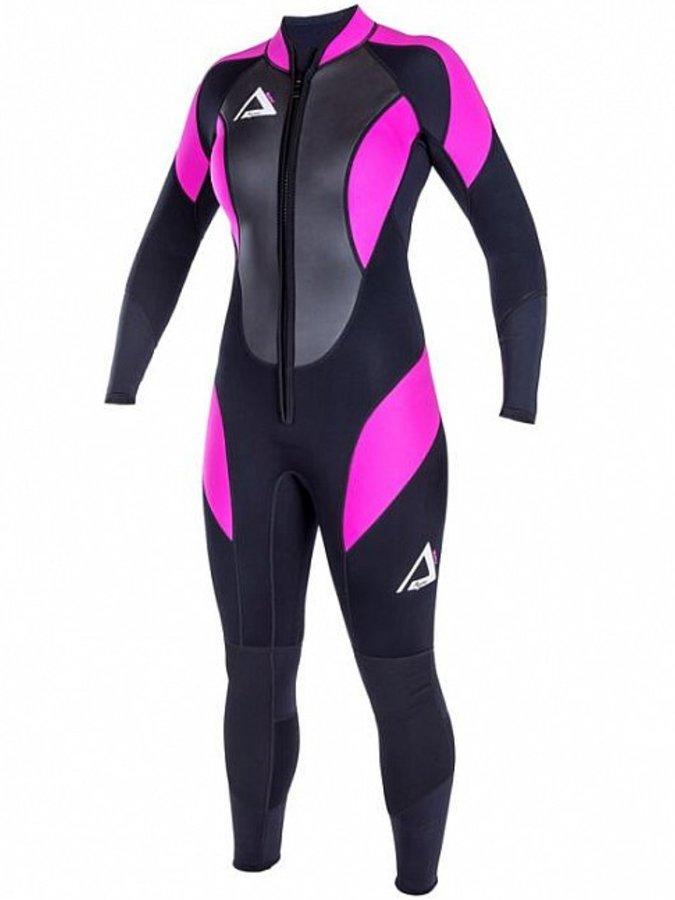 Černo-růžový dlouhý dámský neoprenový oblek Simply, Agama