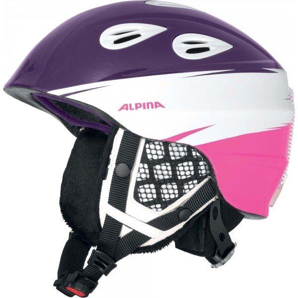 Bílo-fialová dětská lyžařská helma Alpina - velikost 51-54 cm