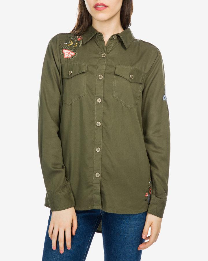 Zelená dámská košile s dlouhým rukávem Pepe Jeans