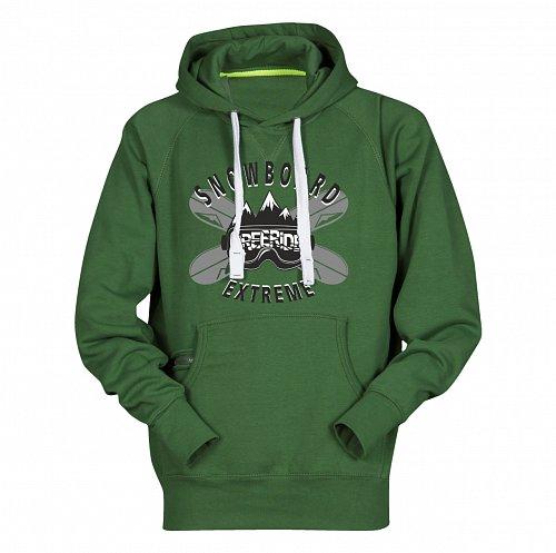 Zelená pánská lyžařská mikina s kapucí Sportinator