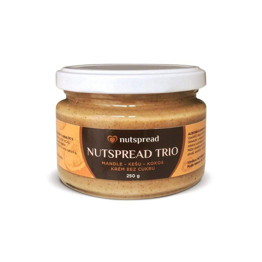 Máslo - Nutspread 100% oříškové máslo Trio Kešu, kokos a mandle 250 g