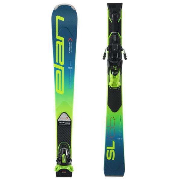 Modro-zelené lyže s vázáním Elan