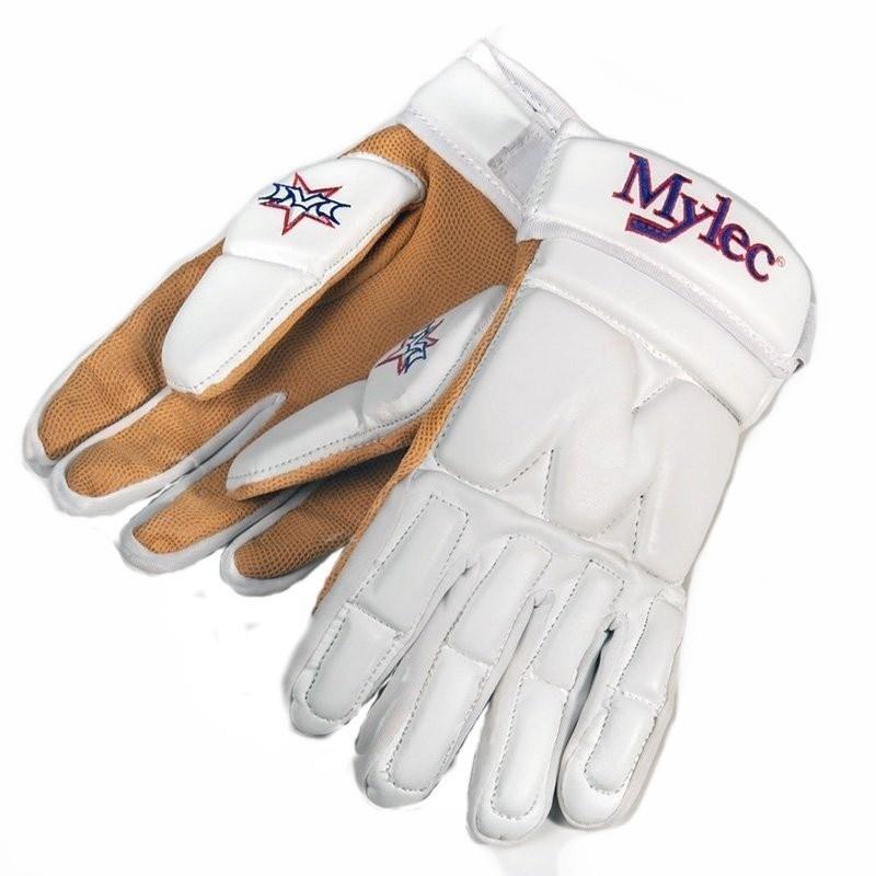 Bílé hokejbalové rukavice Mylec - velikost S