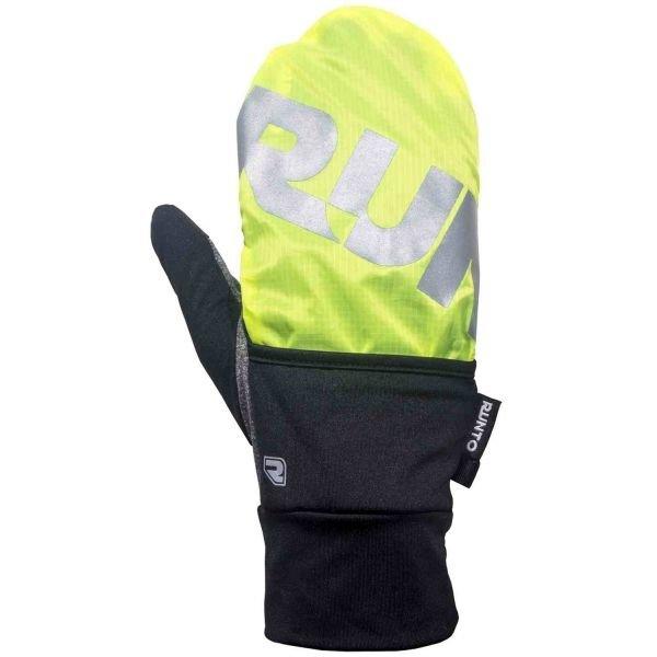 Černo-zelené zimní rukavice RUNTO