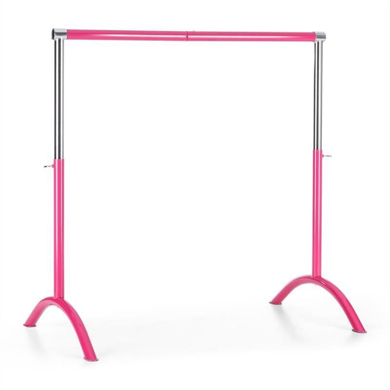 Baletní tyč - KLARFIT Bar Lerina, růžová, baletní tyč, 110x113 cm, přenosná, výškově nastavitelná, ocel