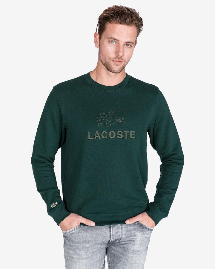 Zelená pánská mikina bez kapuce Lacoste