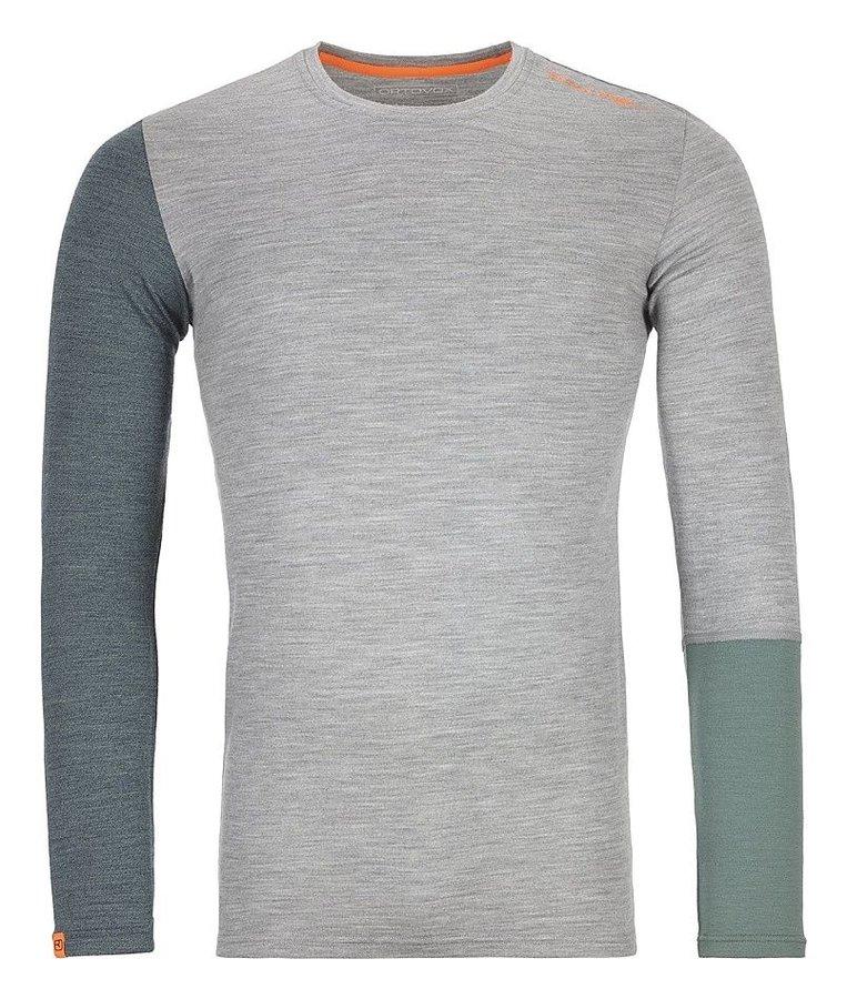 Šedo-zelené pánské termo tričko s dlouhým rukávem Ortovox