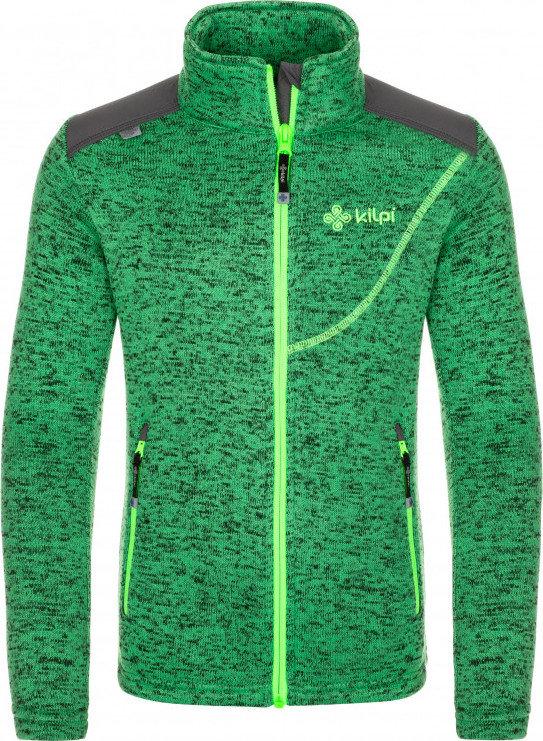 Zelená chlapecká lyžařská mikina bez kapuce Kilpi