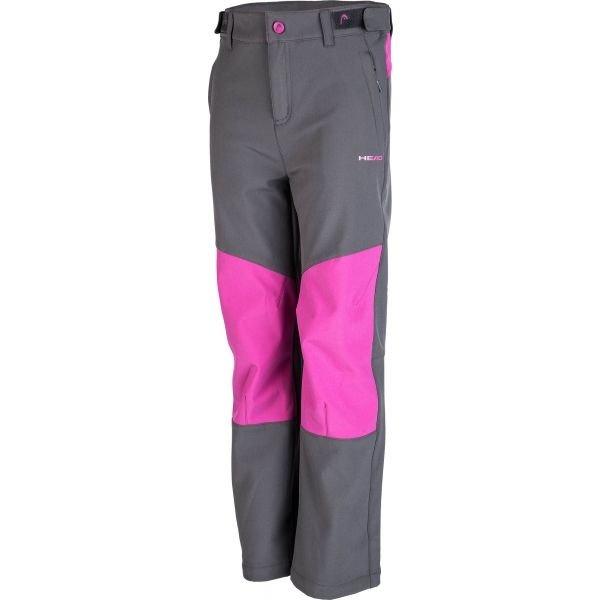 Růžovo-šedé softshellové dívčí kalhoty Head
