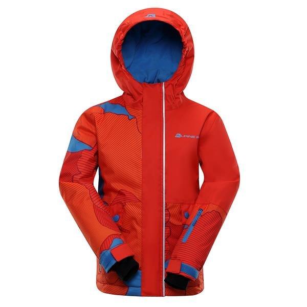 Červená dětská zimní bunda s kapucí Alpine Pro - velikost 116-122