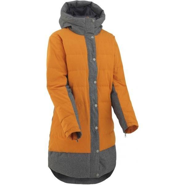Oranžovo-šedý zimní dámský kabát Kari Traa