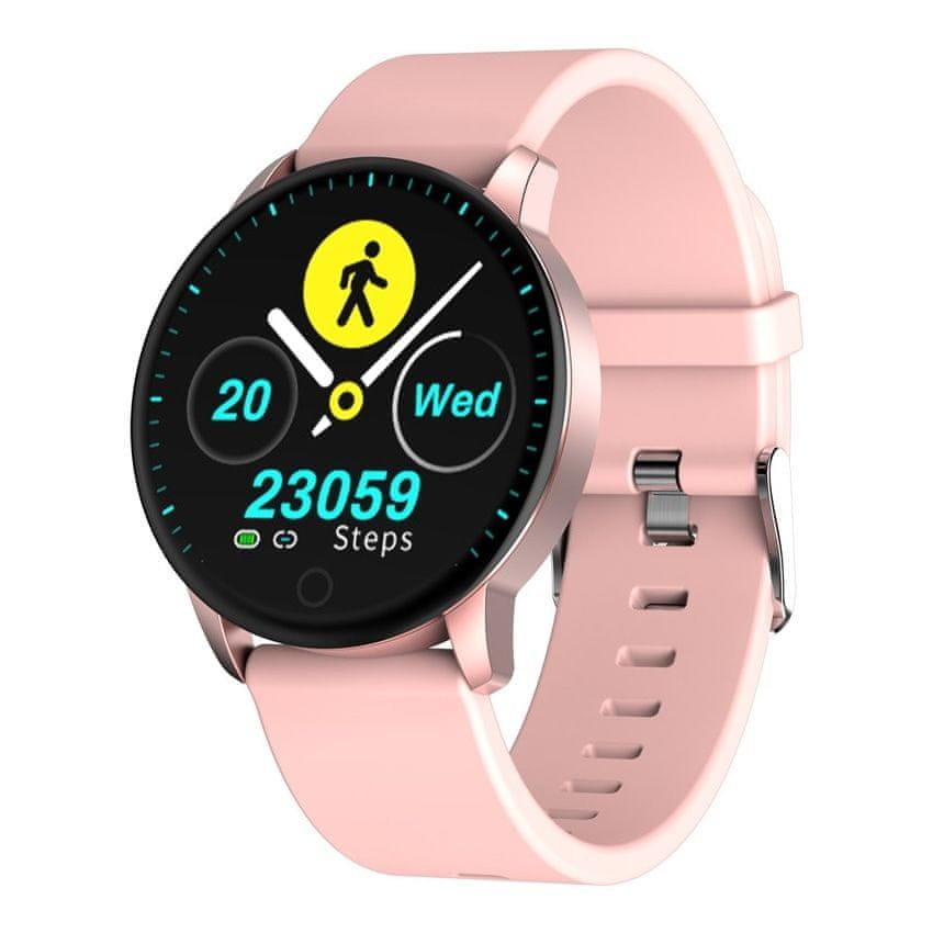 Růžové analogové chytré dámské hodinky SmartWatch QS20, Neogo