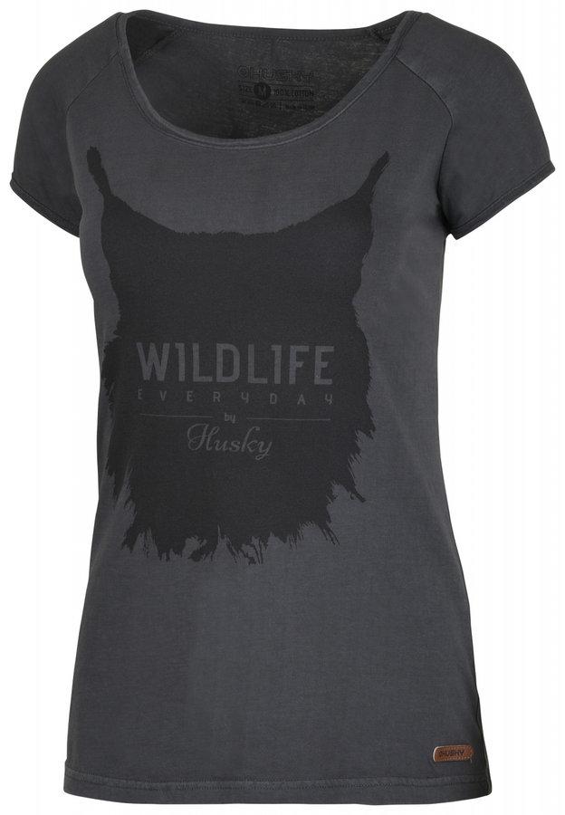 Šedé dámské tričko s krátkým rukávem Husky