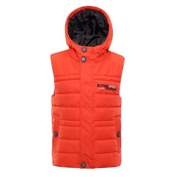 Oranžová dětská zimní vesta Alpine Pro - velikost 140-146