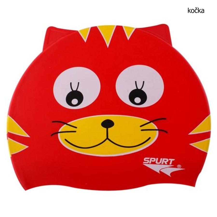 Červená dětská chlapecká nebo dívčí plavecká čepice Effea