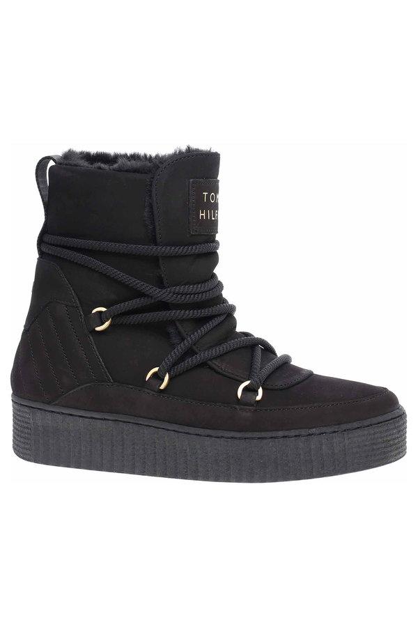 Černé dámské kotníkové boty Tommy Hilfiger - velikost 40 EU