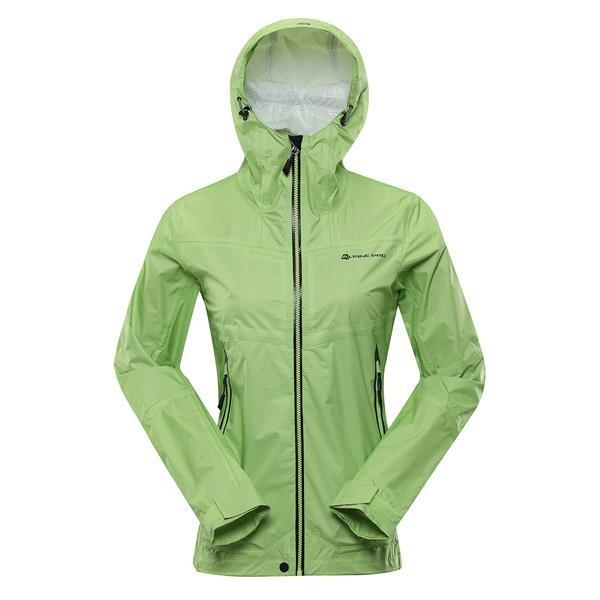 Zelená nepromokavá dámská bunda s kapucí Alpine Pro - velikost S