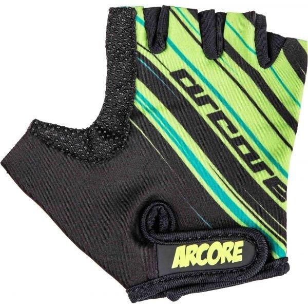Černo-zelené dětské cyklistické rukavice Arcore