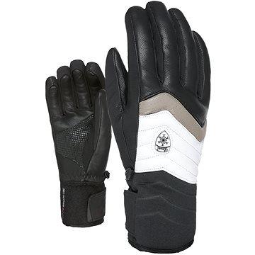 Bílo-černé dámské lyžařské rukavice Level