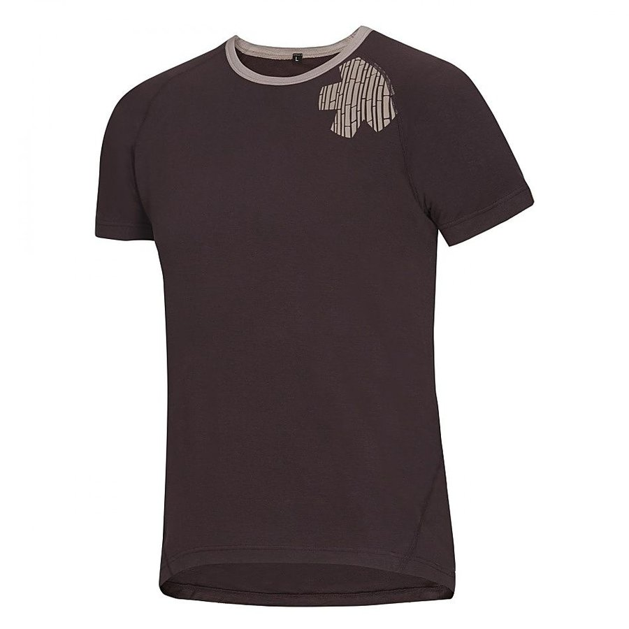 Hnědé pánské turistické tričko s krátkým rukávem Ocún