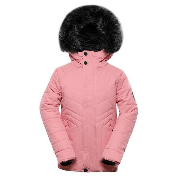 Růžová zimní dívčí bunda s kapucí Alpine Pro