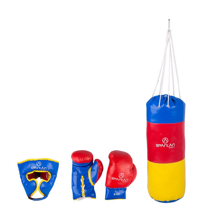 Červeno-modrá boxovací sada Spartan 1x přilba, 1x pytel, 1x rukavice