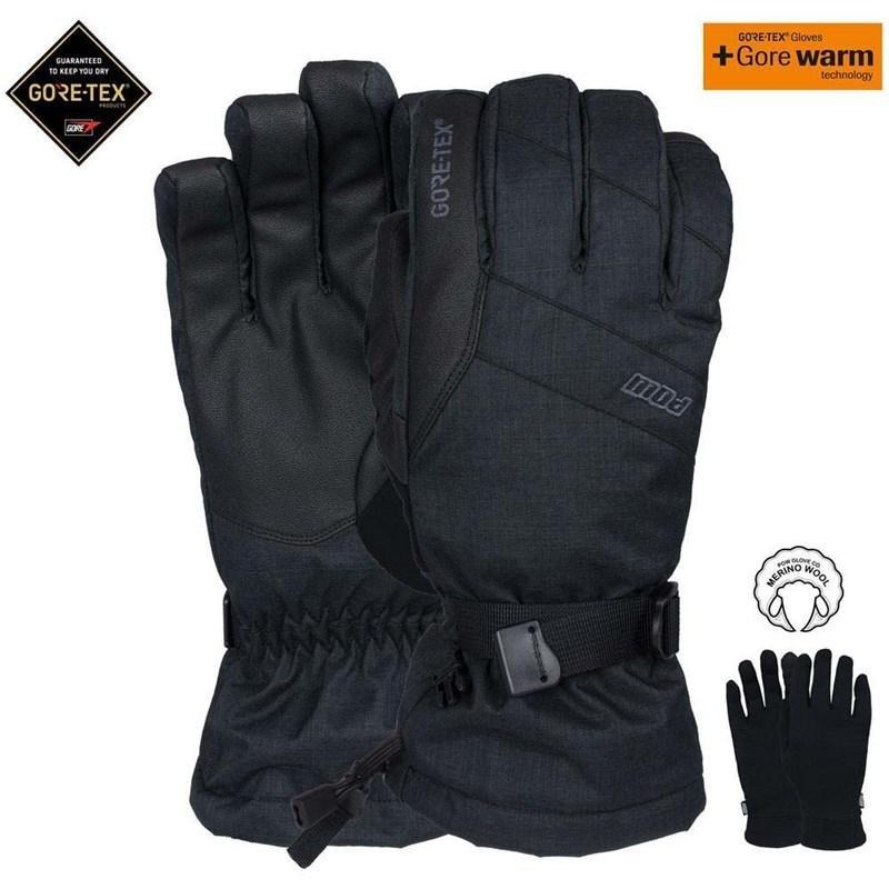 Černé pánské lyžařské rukavice POW - velikost S