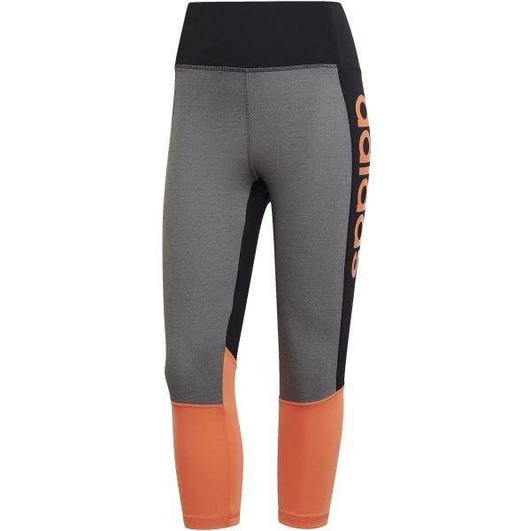 Oranžovo-šedé 3/4 dámské legíny Adidas - velikost XS