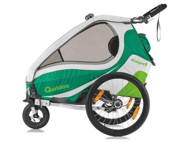 Bílo-zelený dětský vozík za kolo Qeridoo - nosnost 60 kg