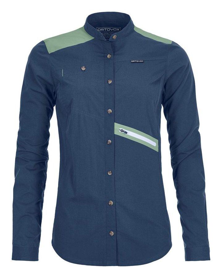 Modrá dámská turistická košile s dlouhým rukávem Ortovox