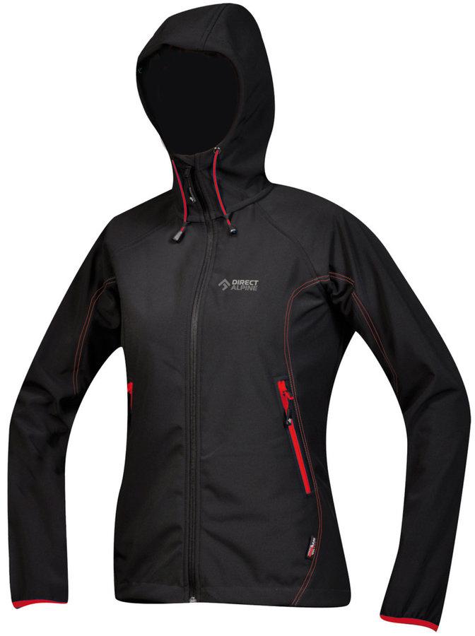 Černo-červená softshellová dámská bunda Direct Alpine - velikost XS