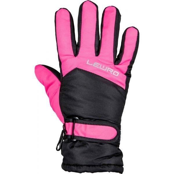 Černo-růžové dívčí lyžařské rukavice Lewro