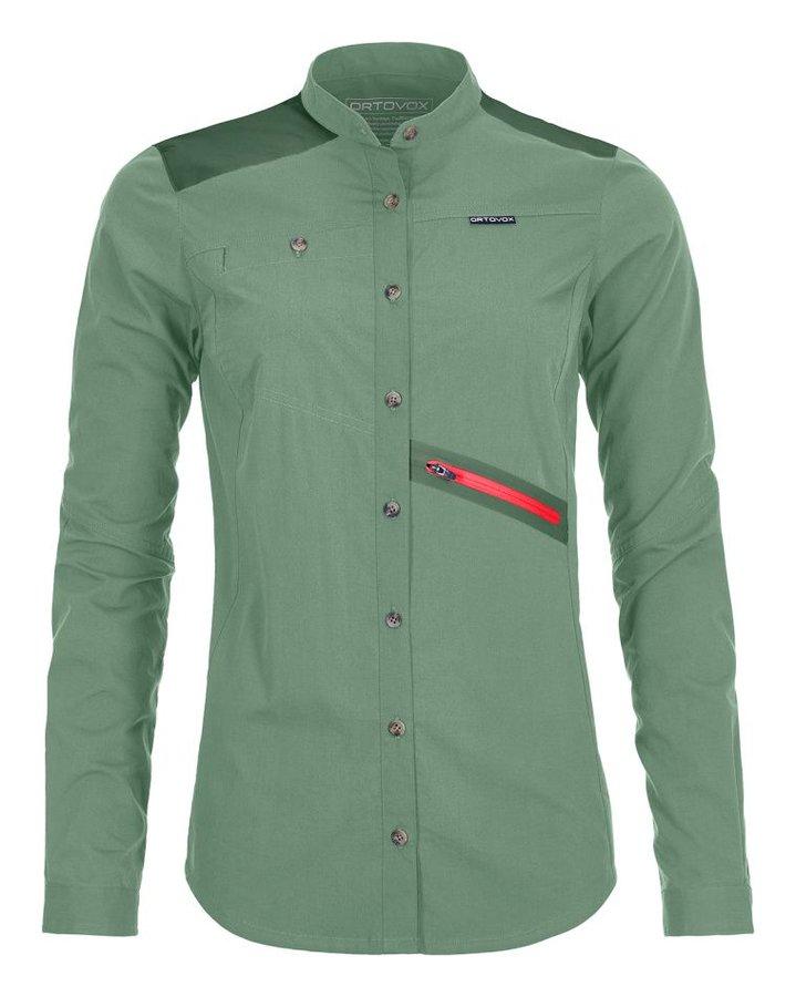 Zelená dámská turistická košile s dlouhým rukávem Ortovox