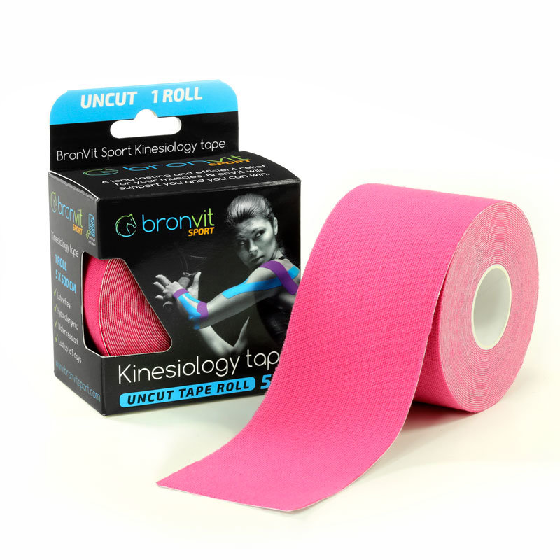 Růžová tejpovací páska BronVit - délka 5 m a šířka 5 cm